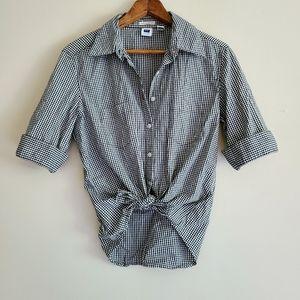 Vintage Gap black gingham button down shirt